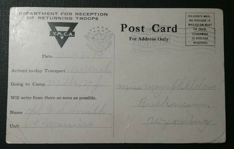 WWI USMC Marines YMCA Returning Troops Military Post Office Soldiers Mail 1919