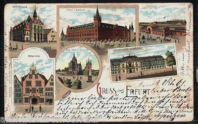 206.091 Erfurt, Litho, gl1901, Hohe Lilie, Regierungs-Gebäude, Bahnhof, Post