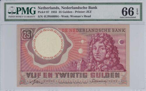 Netherlands 1955 25 Gulden P-87 PMG Gem Unc 66 EPQ