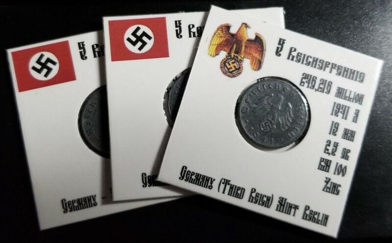 💰1941 A - F WWII GERMAN 5 REICHSPFENNIG THIRD REICH ZINC NAZI GERMANY COIN
