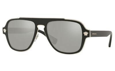 Versace Medusa Charm Sunglasses VE2199 10006G Matte Black/Lt Grey Mirror Silver