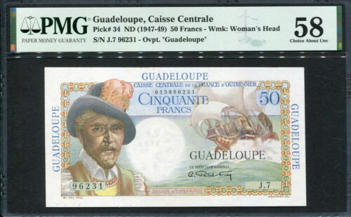 Guadeloupe 1947-1949, 50 Francs, P34, PMG 58  AUNC