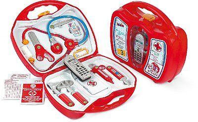 ARZTKOFFER für Kinder Spritze Fieberthermometer Stethoskop Handy ab 3 J.