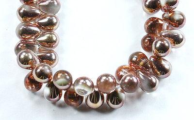 25 Apollo Gold Czech Pressed Glass Teardrops Bead Beads 8X6mm