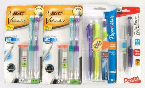 Mechanical Pencil Lot 0.7 mm HB Lead + Refill Pentel Paper Mate Bic Velocity
