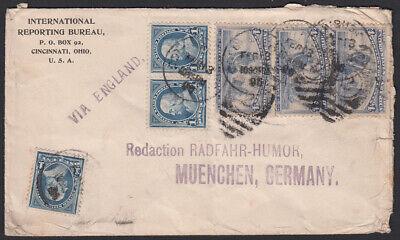 USA Brief Cincinnati/Ohio nach München, Redaktion Radfahr-Humor (Fahrrad), 1896