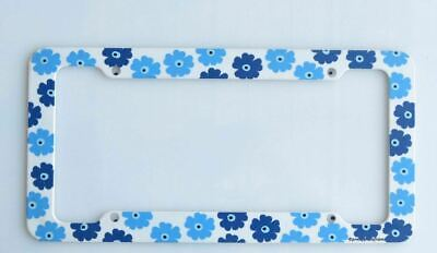 Retro Daisy Blue License Plate -