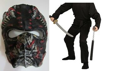 Rubies Black Ninja Costum Pants Top & Mask  Sz M (8-10) New