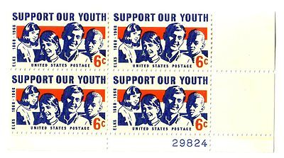 1968 SCOTT 1342 Support our Youth 6¢ MNH OG Plate Block ()