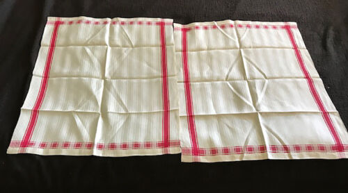 2 ANTIQUE LINEN TOWELS WITH RED STRIPES--NEVER USED