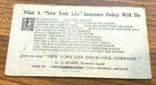 New York MUTUAL LIFE INSURANCE Advertising CARD Vintage