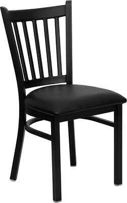 Lot Of 20 Black Vertical Back Metal Restaurant Chairs With Black Vinyl Seats