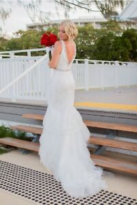 Wedding Dress White Lace With Diamond Pearls Size