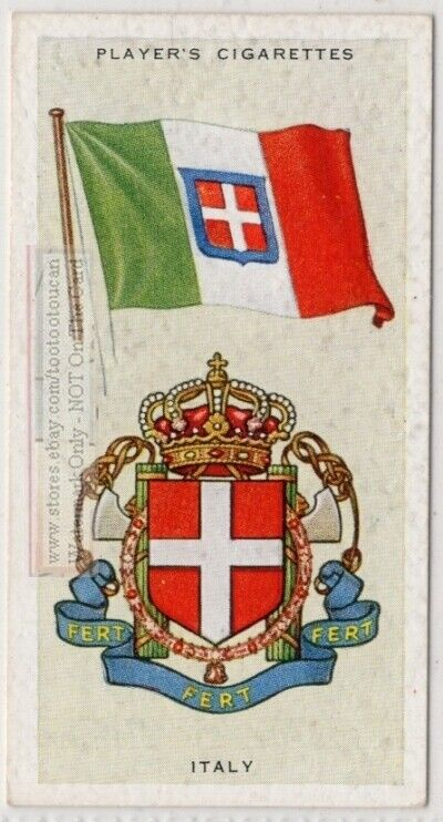 Italy Flag Banner Emblem Rome 1930s Ad Trade Card