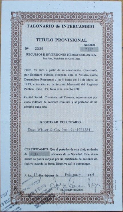 1974 COSTA RICA Certificate Issued to Dean Witter & Co.