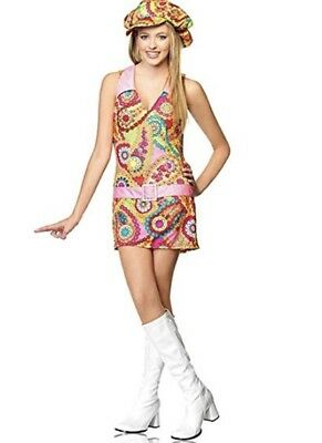 2 pc. Jr. Groovy Hippie Girl 60's Retro Cute Dress Up Halloween Teen Costume - Teen Hippie Costume