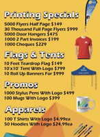 30 k flyers $899, Tdrop flag kit $89ea ,T shirt & logo $3.99ea