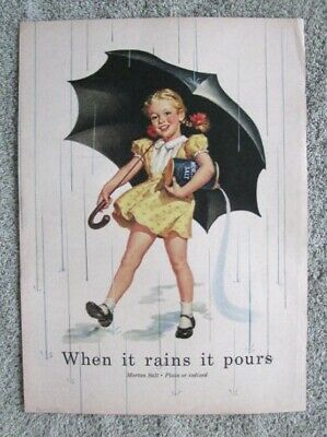 "1004 Vintage ""Morton Salt"" 1952 Print Ad  Girl Under Umbrella"