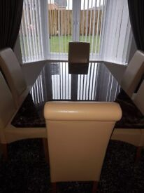 Brown marble effect dining table and 6 faux leather chairs 180cm x 100cm Excellent condition