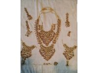 Indian traditional jewellery sets with necklace earrings and headgear