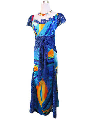 Vtg Retro 80s Fashion Womens Blue Lace & Satin Scoop Maxi Long Dress sz L AV45