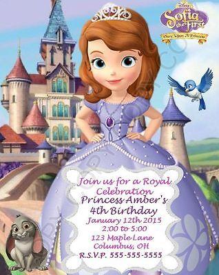Disney Sofia the First Birthday Party Invitations 8 pk Personalized - Personalized First Birthday Invitations