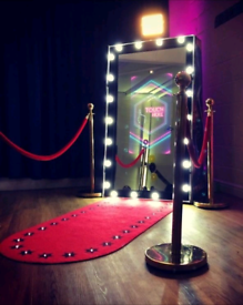 Magic Mirror Photo Booth, candy cart and baby blocks to hire!