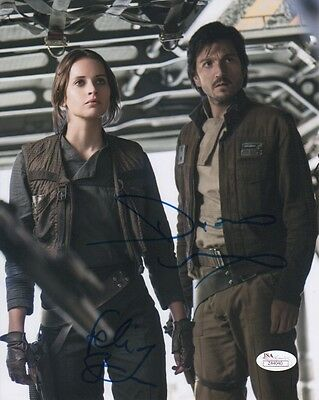 Felicity Jones Diego Luna Rogue One Autographed Signed 8X10 Photo Jsa Coa