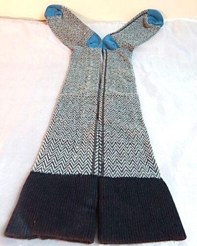 VTG 1970s Blue Herringbone Chevron Stripe Knit Socks Retro Back Seam Boho Hippy