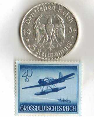 #-A8)-*WWII-*rare*German Stamp+1934-*5 mark *SILVER EAGLE(.900%-