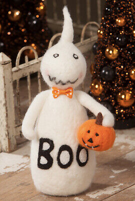 Bethany Lowe Halloween Boo the Ghost W/JOL— Felted Ghost—retired