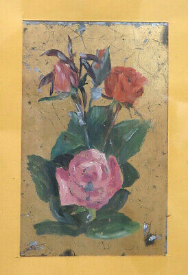 Small Painting Floral Painting with Frame Golden Old Period Half '900 CH15