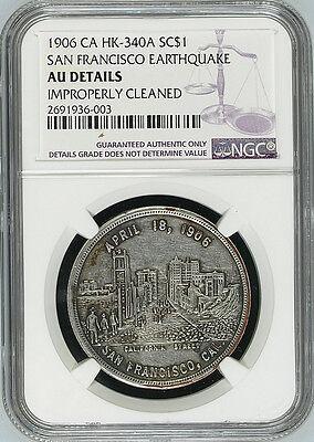 1906 San Francisco Earthquake Medal - AU Details NGC - HK340a, Silver-pl Token