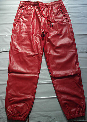 Faux leather pants for men/elastic waist Slim Skinny Trousers with zipper pocket (Faux Leather Pants For Men)