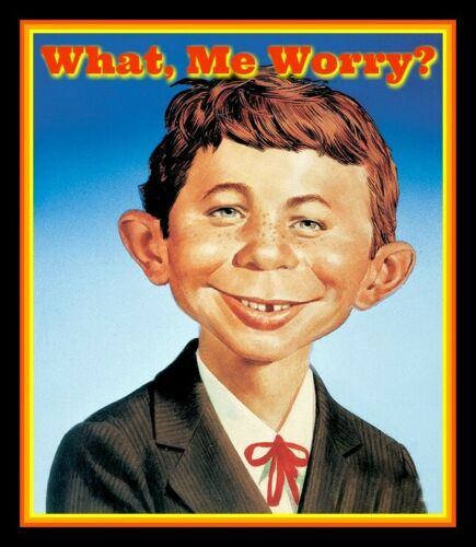 """4.5"""" Alfred E. Neuman """"What, Me Worry?"""" vinyl sticker. MAD Magazine decal."""