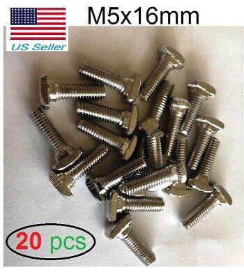 20pcs 20 Series M5x16mm Hammer Head T Bolt Screw Nickel Plated For T-slot