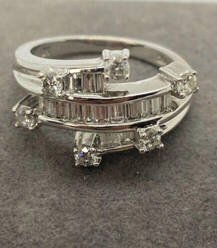 B H Effy White Gold 14K and 0.75 Ct Diamond Womens Round Ring Size 6 3/4 New
