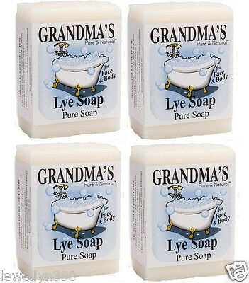 Grandma's 6oz Lye Soap Bar LOT(4)  Unscented  NEW!!
