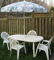 Plastic Patio Table with Chairs and Umbrella