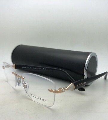 New BVLGARI Eyeglasses 2190-B 2014 53-16 140 Gold & Black Rimless Frame+Crystals