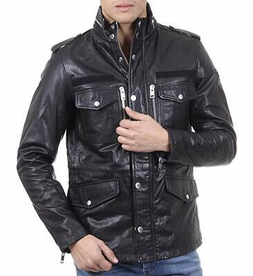 DIESEL LEATHER JACKET 100% AUTHENTIC Men's L Black - Original & Rare L-Achai NWT