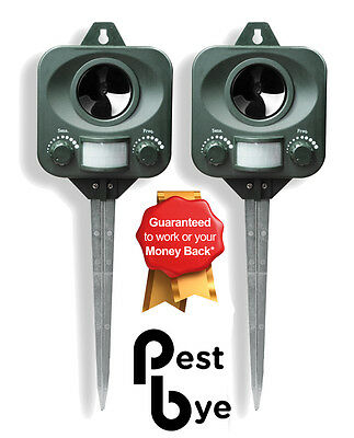 2 x Pestbye Ultrasonic Cat Fox Pest Battery Repeller Scarer Deterrent Repellent