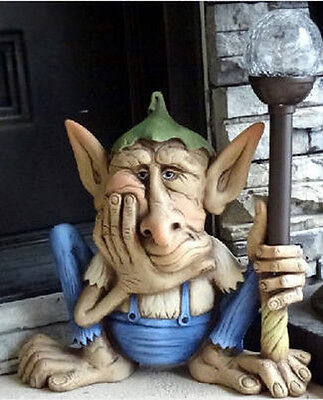 Ceramic Bisque Ready to Paint Jerome the Hairless Gnome with Solar Light Staff