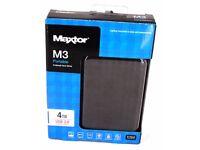 4TB Maxtor M3 4 TB USB 3.0 Slimline Portable External Hard Drive HDD Memory Disk Black New Sealed HD