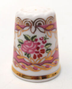 HAMMERSLEY-ENGLAND-ROSE-CAMEO-BONE-CHINA-THIMBLE-FOR-FRANKLIN-MINT-1980s-WGPH