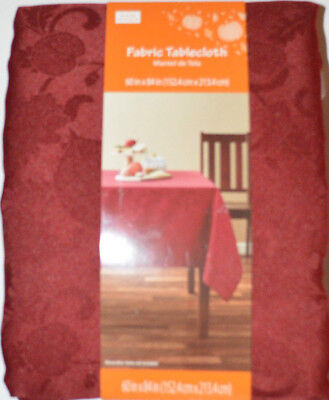 60x84 Fabric Tablecloth - Fall Scroll Dark Red Fabric Tablecloth Rectangle 52X70, 60X84, 60X102, Round 70