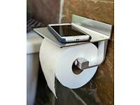 Wangel brushed Chrome toilet roll holder, with shelf for mobile