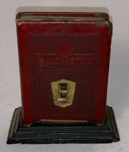 Vintage, CaleMeter Book Coin Bank with Wooden Base