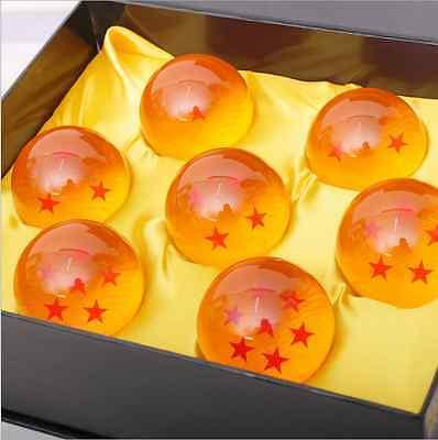 New Dragon Ball Z Stars Crystal Glass Ball 7Pcs With Gift Box Large 76Mm