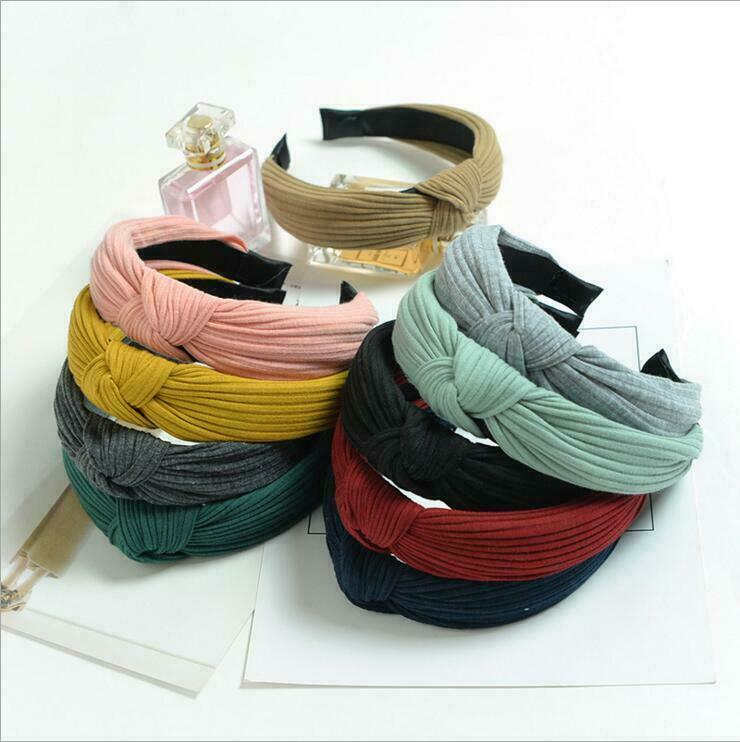 Womens Elastic Turban Headband Fashion Solid Twisted Casual Knotted Hair Band